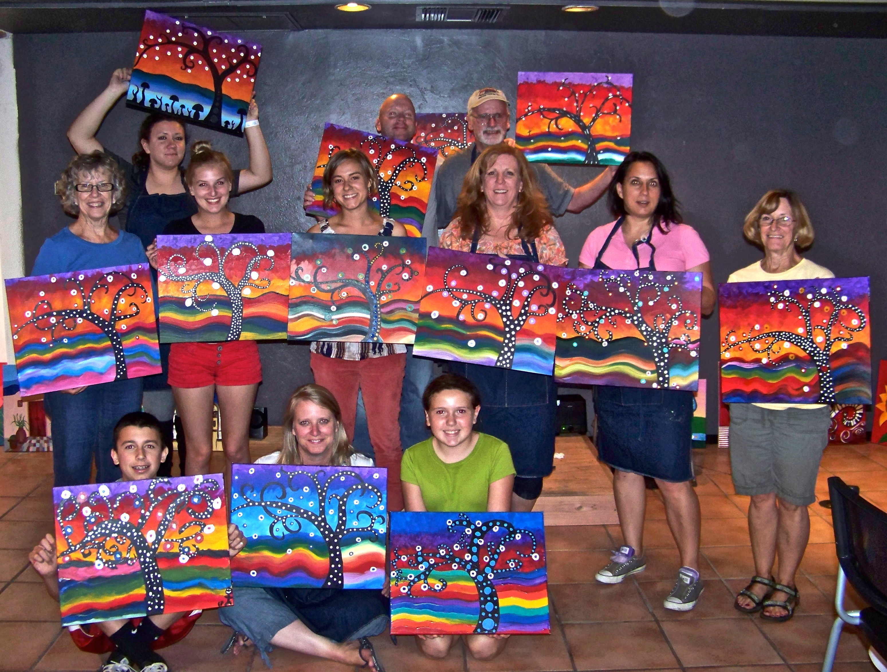 Creative juice art bar fun painting classes in tucson for Group craft projects for adults
