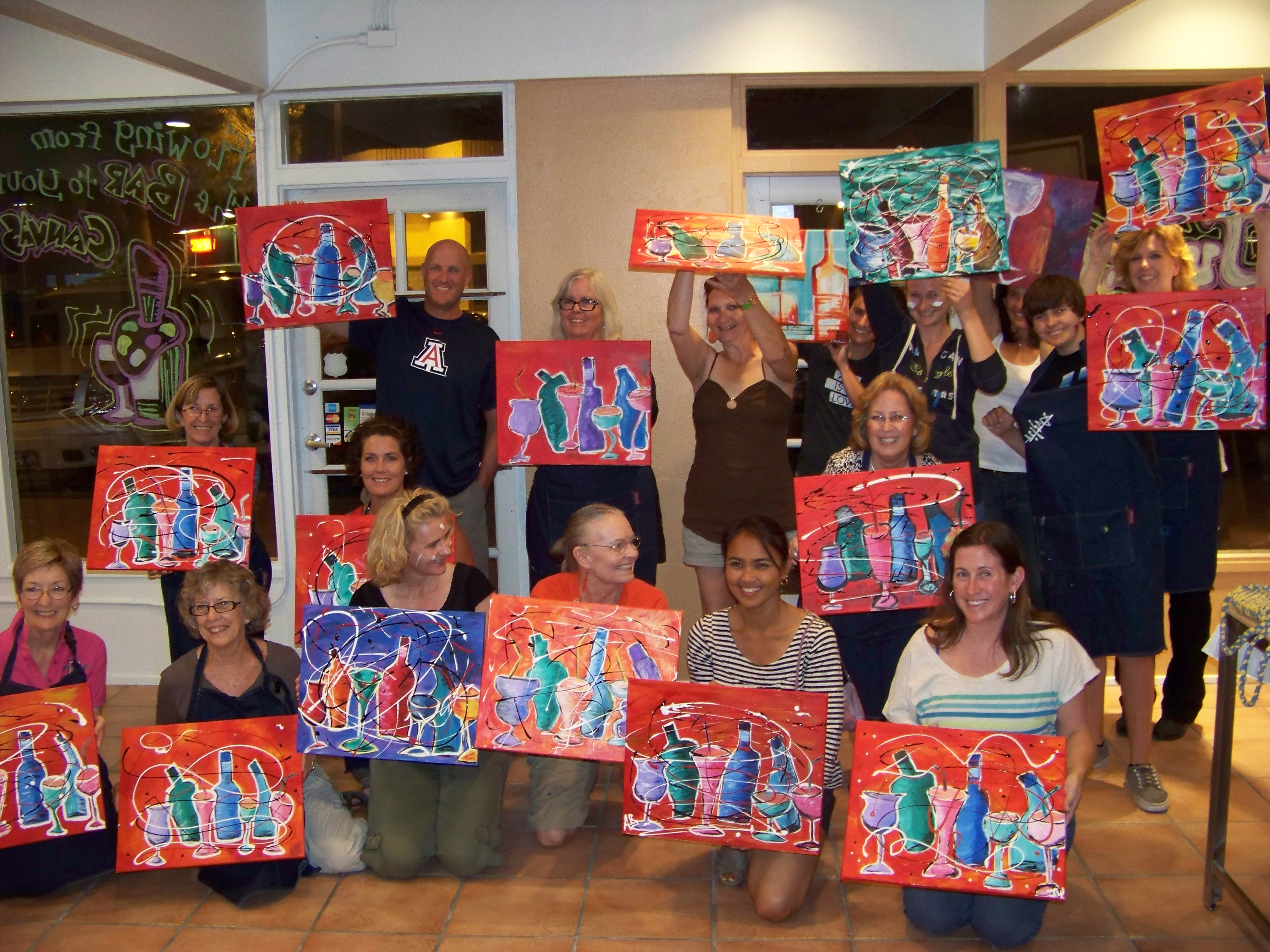 Creative juice art bar fun painting classes in tucson for Canvas painting classes